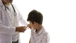 Vaccine injection on young patient