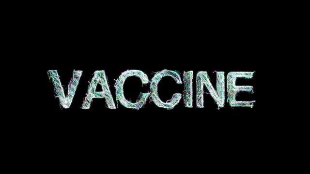 vídeos y material grabado en eventos de stock de texto de la vacuna palabra clave hecha de partículas animadas digitales - refugiarse en un lugar concepto