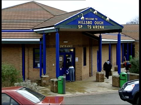 Warning over single dose vaccines ITN ENGLAND Yorkshire Sheffield Entrance to Hillsborough Sports Centre where private company ran a vaccination...