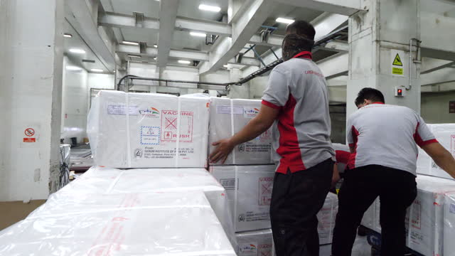 covid vaccines warehouse - box container stock-videos und b-roll-filmmaterial