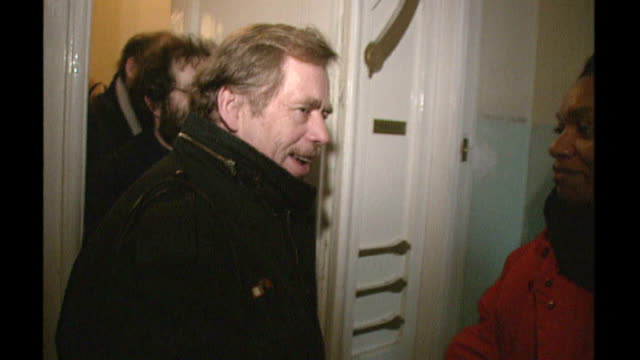 vaclav havel dies aged 75 t10128914 prague night havel leaving his home and speaking to press sot i have hope because without hope it is impossible... - leaving prison stock videos & royalty-free footage