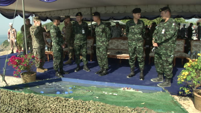 Vadm Panya Lekbua Deputy Commander in Chief Royal Thai Fleet speaks to the media and US and Thai military speak before the USThai joint military...