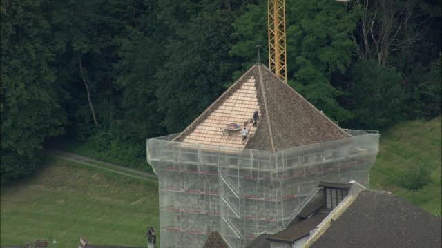 AERIAL ZO Vaduz castle official residence of the Prince of Liechtenstein under renovation, Liechtenstein