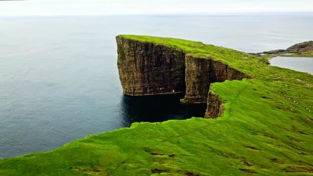 vagar landscape at the faroe islands - optical illusion stock videos & royalty-free footage
