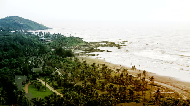 vagator beach, holiday in goa - goa stock videos & royalty-free footage
