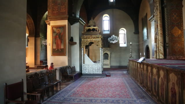 vagharshapat, echmiadzin cathedral, interior view - 4th century bc stock videos and b-roll footage