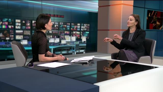 vídeos de stock e filmes b-roll de government agrees to review england london gir ext kath sansom live studio interview sot - female reproductive system