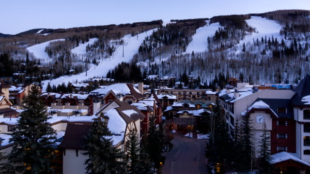 vail colorado lionshead village time lapse - ski slope stock videos & royalty-free footage