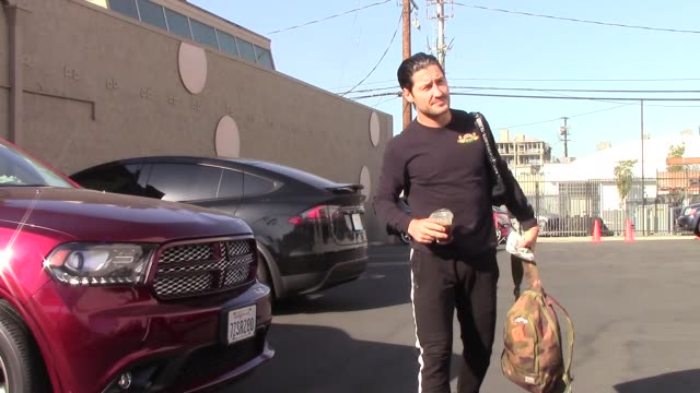 val chmerkovskiy arrives at the dwts rehearsal studio in hollywood in celebrity sightings in los angeles - dancing with the stars stock videos & royalty-free footage