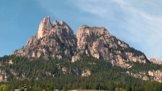 val di fassa, view of a mountain peak. - val di fassa stock videos and b-roll footage