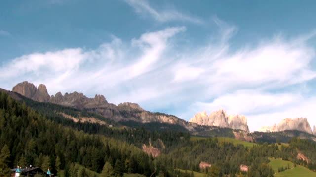 val di fassa, view of a mountain range. - val di fassa stock videos and b-roll footage