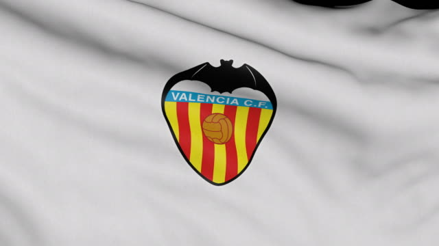 valencia cf spanish soccer team flag waving computer generated animation for editorial use seamlessly looped and close up - loopable moving image stock videos & royalty-free footage