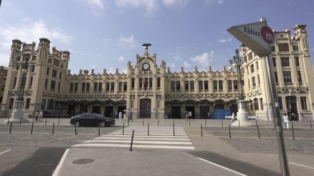 valencia railway station - local landmark stock videos & royalty-free footage