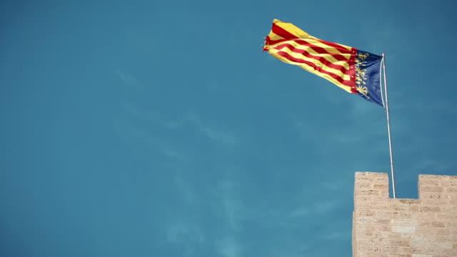 バレンシアスペイン国旗 - スペイン国旗点の映像素材/bロール