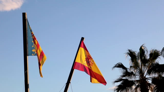 valencian flag and spanish flag, spain - stock |video - flag stock videos & royalty-free footage