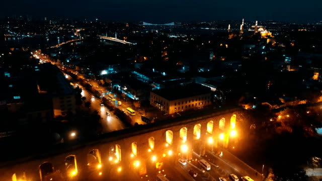 valens aqueduct istanbul aerial drone shot at dawn - madressa stock videos and b-roll footage