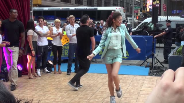 valentin chmerkovskiy and zendaya at the 'good morning america' studio in new york ny on 5/22/13 - good morning america stock videos and b-roll footage