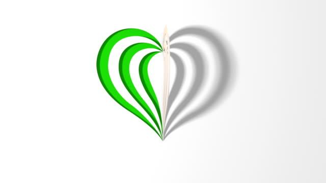 vidéos et rushes de carte valentine - papier origami heart (loop 4k) - objet en papier