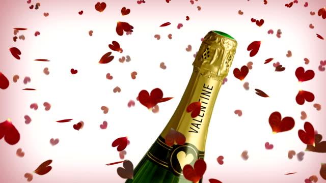 valentinstag mit champagner - sektkorken stock-videos und b-roll-filmmaterial