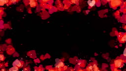 Valentine red hearts frame background, looped