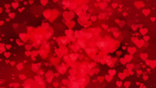 valentine's day abstract red background with hearts - valentine's day stock videos & royalty-free footage