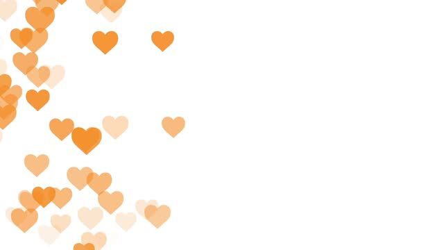 valentine's day background, flat style heart icons moving animation. the concept of love symbol, like button, bar counter, design element, emotion, social media, valentines day, happiness, pop up stock video - orange colour stock videos & royalty-free footage
