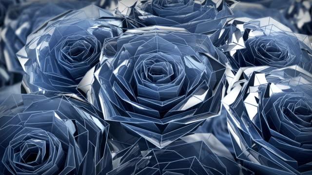 valentinstag blaue rosen polygonale animation, nahaufnahme 4k - rose stock-videos und b-roll-filmmaterial
