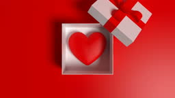 Valentine's Day Concept With Heart Shape In Box On Red Background