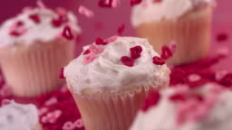 Valentine's Day cupcakes,  slow motion