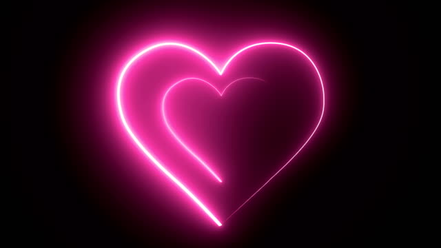 valentine's day, heart shape neon abstract backgrounds, 4k neon tunnel  loopable. - neon stock videos & royalty-free footage