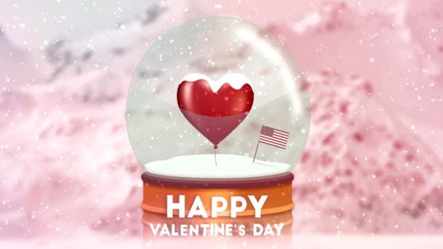 stockvideo's en b-roll-footage met aftelkalender voor valentijnsdag in een sneeuwbol met een amerikaanse vlag - star shape