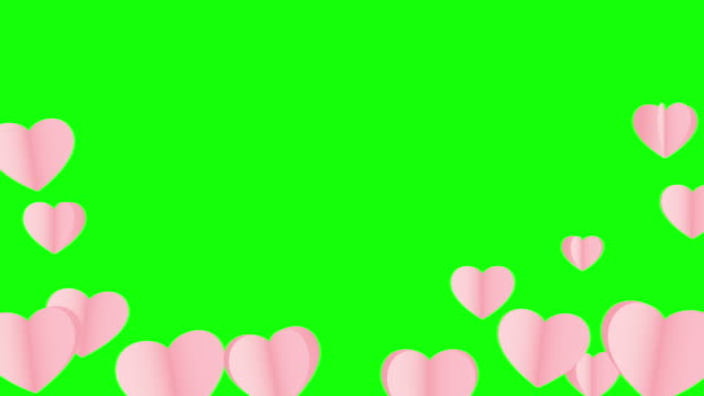 valentines day love hearts concept background, seamless looped, green screen alpha channel - multi layered effect stock videos & royalty-free footage