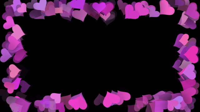 valentines day love hearts frame background, seamless looped, horizontal and vertical - film composite stock videos & royalty-free footage