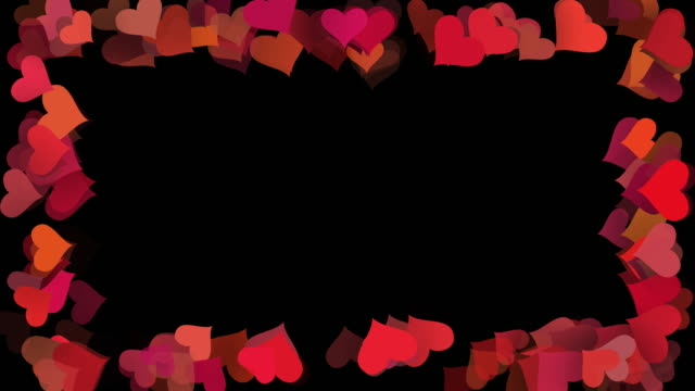 valentines day love hearts frame background, seamless looped, horizontal and vertical - multi layered effect stock videos & royalty-free footage