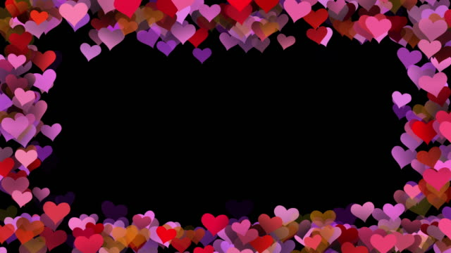valentines day love hearts frame background, seamless looped - multi layered effect stock videos & royalty-free footage
