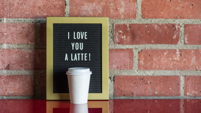 "valentine's day message "" i love you a latte "" - reconciliation stock videos & royalty-free footage"