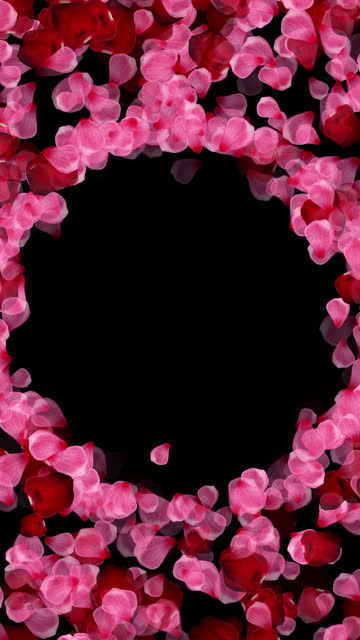 valentines day rose petals circle frame background, vertical, use screen layer mode for alpha,seamless looped 4k stock video - loopable elements stock videos & royalty-free footage