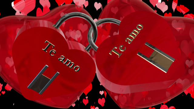 Valentine's Day with two heart shaped red padlocks with the Spanish phrase Te amo, I love you, two beating red 3D hearts and moving heart shaped particles are in the background saved with alpha channel