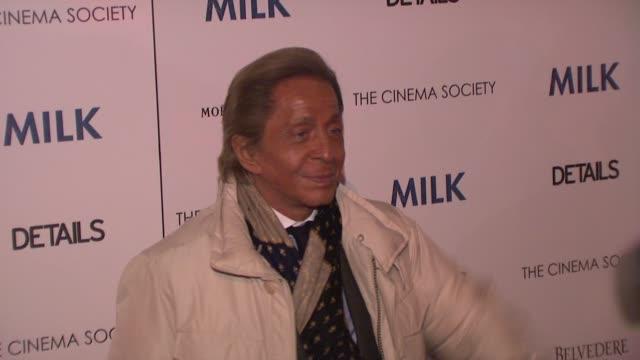 Valentino at the 'Milk' Premiere at New York NY