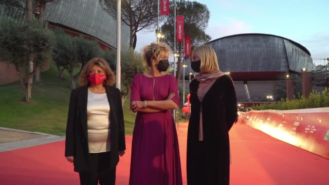 """valeria golino arrives on the red carpet ahead of the """"fortuna"""" screening during the 15th rome film fest on october 19, 2020 in rome, italy. - rome film festival stock videos & royalty-free footage"""