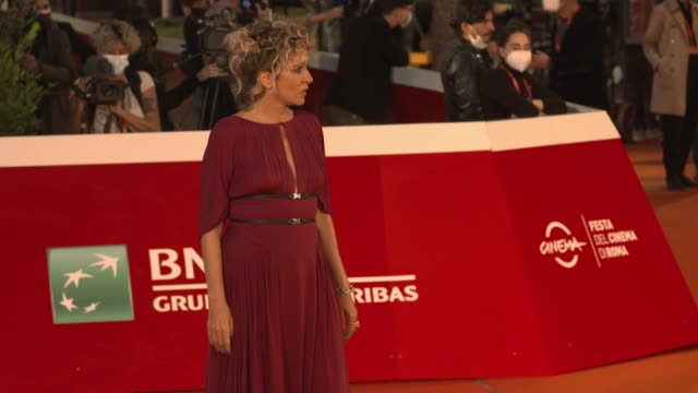 """valeria golino attends the red carpet of the movie """"fortuna"""" during the 15th rome film festival on october 19, 2020 in rome, italy. - rome film festival stock videos & royalty-free footage"""