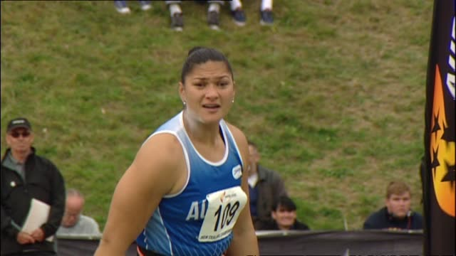 valerie adams competing at the new zealand track and field championships at newtown park - shot put stock videos & royalty-free footage