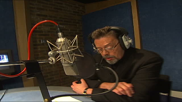 'valiant' animated film: tim curry doing voiceover; england: int gvs tim curry in recording studio as records voice for character in film 'valiant'... - animation moving image stock videos & royalty-free footage
