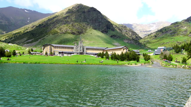 vall de núria lake in springtime - wide angle stock videos & royalty-free footage