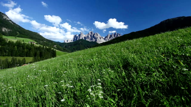 Vall di Funes, Dolomites, Italian Alps under clear blue sky