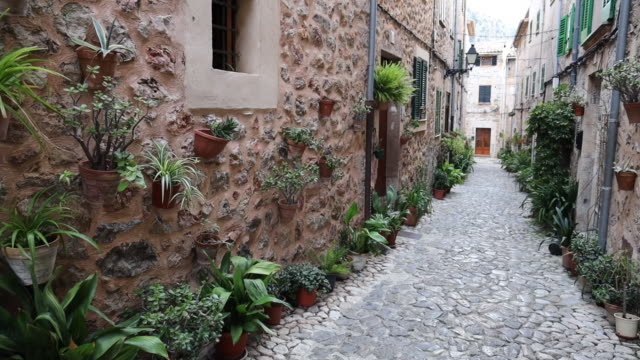 vídeos de stock e filmes b-roll de valldemosa mediterranean street with flowers and plants in the mallorca island. - cena não urbana