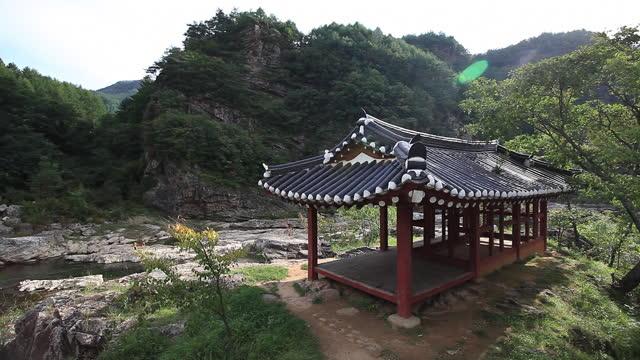 valley around gumijeong gazebo / jeongseon-gun, gangwon-do, south korea - gazebo stock videos & royalty-free footage