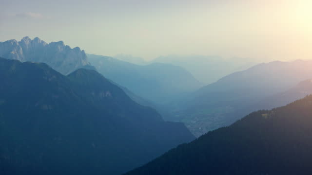 valley at sunset - val di fassa stock videos and b-roll footage