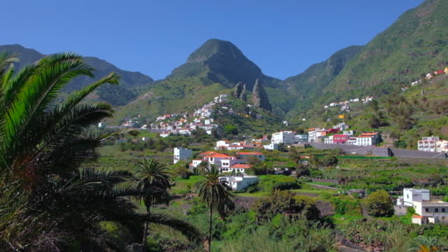 Valley Hermigua in the background Roques de San Pedro on Canary Islands La Gomera in the province of Santa Cruz de Tenerife - Spain