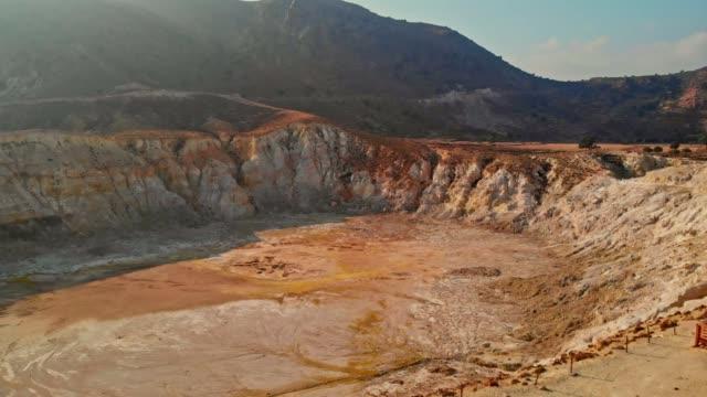 valley of crater stefanos, nisyros island - sulphur stock videos & royalty-free footage